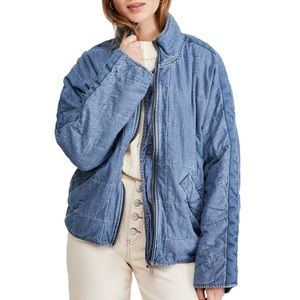 Free People Dolman Quilted Denim Jacket Size Small